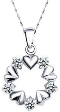 Alpha A A Designer Inspired Open Circle Heart and CZ Necklace