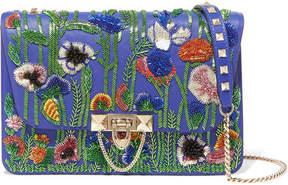 Valentino Garavani Demilune Bead-embellished Leather Shoulder Bag - Blue