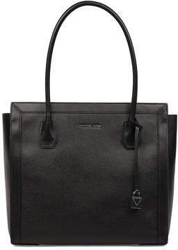 Michael Kors Balck Mercer Studio Hammered Leather Shoulder Bag - BLACK - STYLE