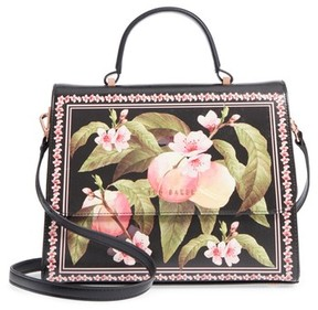 Ted Baker Jarita Peach Blossom Faux Leather Top Handle Satchel - Black