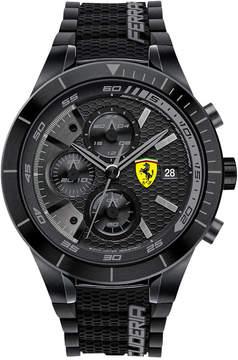 Ferrari Scuderia Men's Chronograph RedRev Evo Black Silicone Strap Watch 46mm 0830262