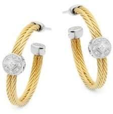 Alor Diamond, 18K White Gold & Stainless Steel Hoop Earrings