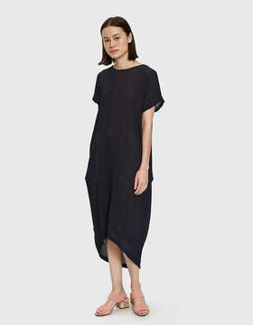 Black Crane Pleated Cocoon Dress in Navy
