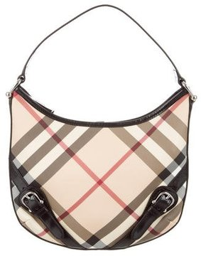 Burberry Leather-Trimmed Nova Check Bag - NEUTRALS - STYLE