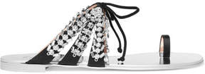Giuseppe Zanotti Nuvorock Crystal-embellished Suede And Satin Sandals - Silver