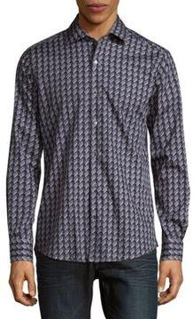 Pal Zileri Slim Chevron-Pattern Sportshirt