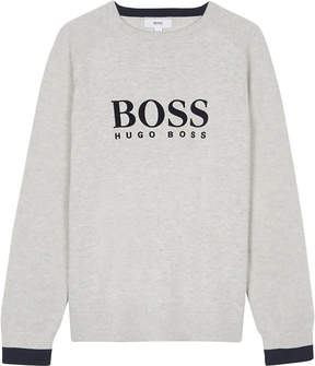 BOSS Velvet logo cotton jumper 4-16 years