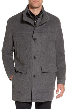 Cole Haan Men's Wool Blend Topcoat With Inset Bib
