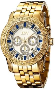 JBW Krypton Swarvoski Multi-color Crystal White Chronograph Dial Gold-tone Steel Bracelet Men's Watch
