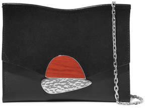 Proenza Schouler Curl Small Embellished Textured-leather And Suede Shoulder Bag - Black