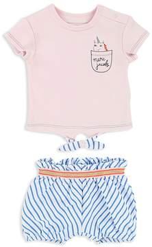 Little Marc Jacobs Girls' Unicorn Tee & Striped Shorts Set - Baby