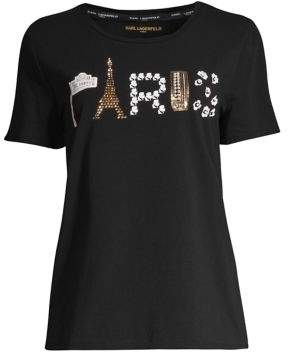 Karl Lagerfeld Paris Paris Embellished Stretch Tee