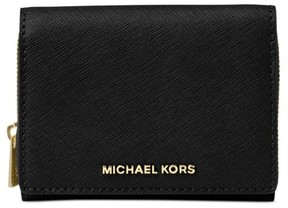 Michael Kors Samll Wallet Jet Set Travel Black Zip-around Billfold - BLACK - STYLE