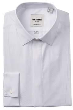 Ben Sherman White Diamond Textured Tux Tailored Slim Fit Dress Shirt