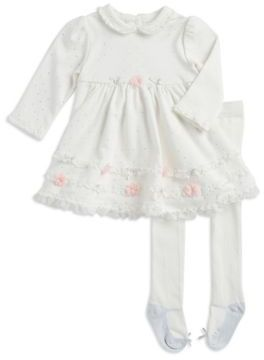 Little Me Baby's Two-Piece Dotted Dress & Footed Tights Set