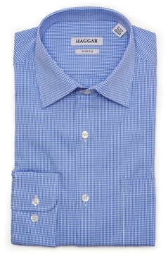 Haggar Men's Motion Ease Collar Slim-Fit Stretch Dress Shirt