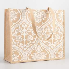 World Market White Medallion Jute Ogee Tote