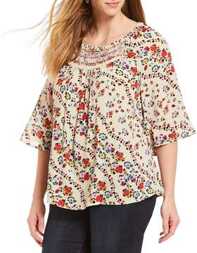 Democracy Plus Size Floral Printed Flare Sleeve Top