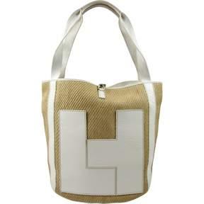 Lambertson Truex Beige Wicker Handbag