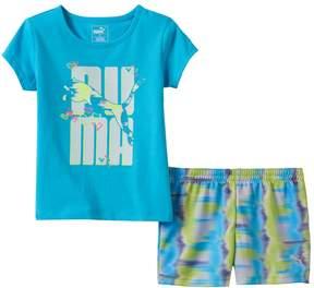 Puma Toddler Girl Glittery Graphic Tee & Tie-Dye Shorts Set