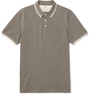 Brunello Cucinelli Contrast-Tipped Cotton-Piqué Polo Shirt