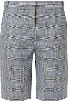 Tibi Cooper Prince Of Wales Checked Wool And Silk-blend Shorts - Gray