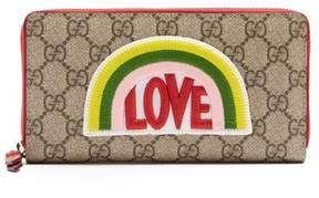 Gucci Love Appliqué Gg Supreme Wallet - Womens - Multi