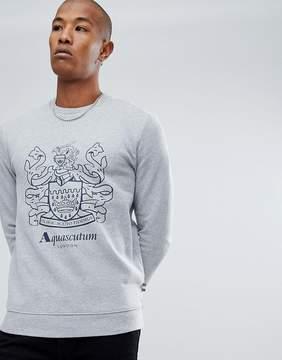 Aquascutum London Ives Giant Crest Logo Crew Neck Sweat in Gray