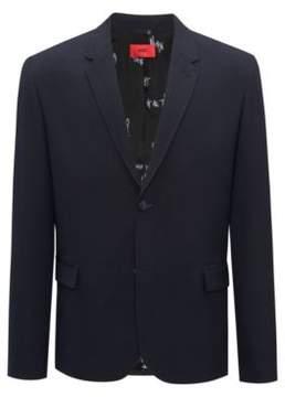 HUGO Boss Slim-fit blazer in yarn-dyed seersucker 38R Dark Blue