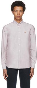 MAISON KITSUNÉ Burgundy Fox Oxford Shirt