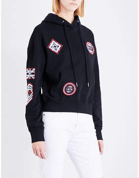 Boy London Patch cropped cotton-jersey hoody