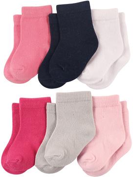 Luvable Friends Pink & Black 6-Pair Socks Set