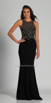 Dave and Johnny Sleeveless Eyelet Beaded Fitted Evening Dress