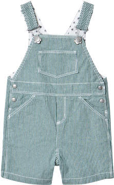 Petit Bateau Green And White Striped Dungarees