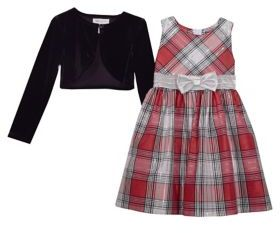 Iris & Ivy Girl's Two-Piece Plaid Dress and Velvet Cardigan