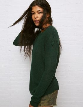 American Eagle Outfitters Don't Ask Why Lace-Up Shoulder Sweater