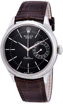 Rolex Cellini Automatic Black Dial Men's Brown Leather Watch