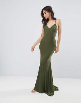 Club L Strappy Back Maxi Dress With Fishtail