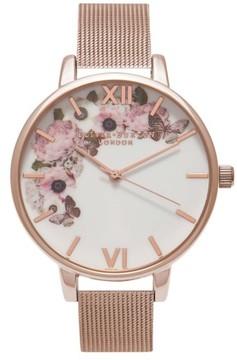 Olivia Burton Women's Signature Florals Mesh Bracelet Watch, 38Mm