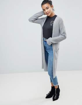 Fashion Union Longline Cardigan With Ribbed Sleeves