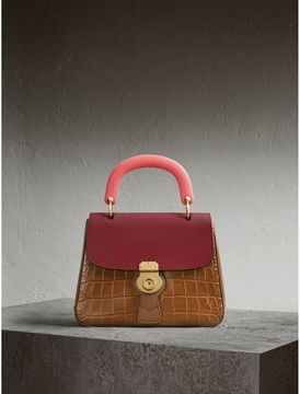 Burberry The Medium DK88 Top Handle Bag with Alligator - TAN/ANTIQUE RED - STYLE
