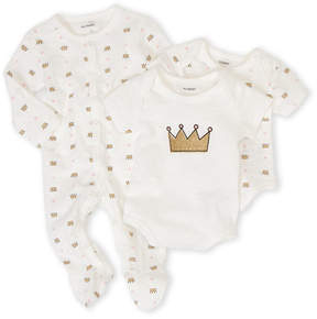 Petit Lem Newborn Girls) 3-Piece Crown Bodysuits & Footie Set