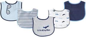 Luvable Friends Blue & Gray 'Little Wing Man' Bib - Set of Five