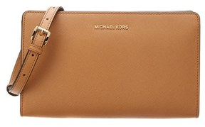 MICHAEL Michael Kors Jet Set Large Leather Crossbody Clutch. - BROWN - STYLE