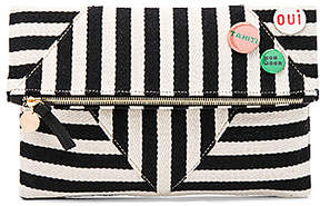 Clare V. Patchwork V Foldover Clutch With Pins in Black & White.