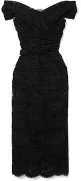 Dolce & Gabbana Off-the-shoulder Chantilly Lace Midi Dress - Black