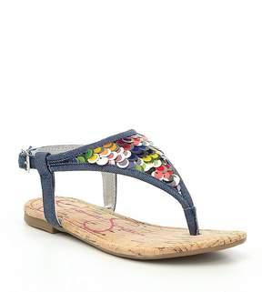 Jessica Simpson Girls' Kambria Denim Sequins Thong Sandals