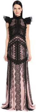 Antonio Berardi Embroidered Chiffon & Envers Satin Gown