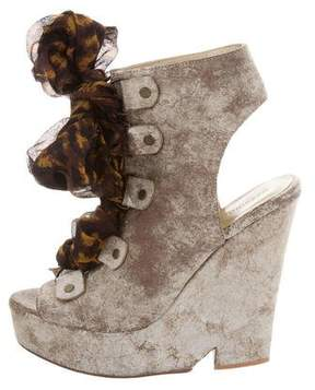 Opening Ceremony Embossed Lace-Up Wedges