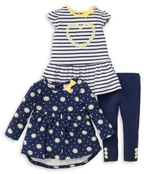 Little Me Baby Girl's Three-Piece Printed Top, Ruffled Tunic and Leggings Set